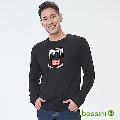 bossini男裝-印花長袖T恤12黑