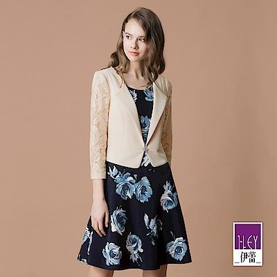 ILEY伊蕾 外套造型花卉印花假兩件洋裝(藍)