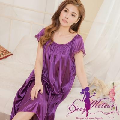 睡衣 大尺碼 抓褶素色冰絲短袖蕾絲花邊連身裙睡衣(典雅深紫) Sexy Meteor