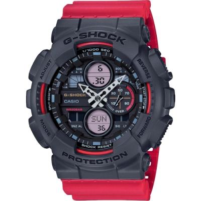 CASIO 卡西歐 G-SHOCK 90年代音響概念手錶-霸氣紅(GA-140-4A)