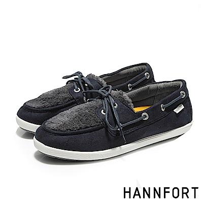 HANNFORT CALIFORNIA暖心毛毛帆船鞋-女-深海藍