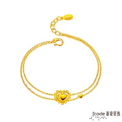 J code真愛密碼 浪漫的心黃金手鍊-雙鍊款