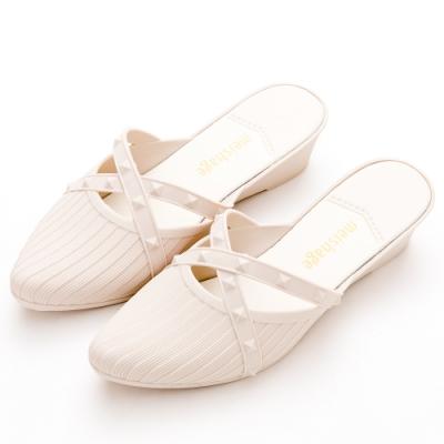 River-Moon防水鞋-歐美交叉鉚釘尖頭穆勒楔型鞋-米杏