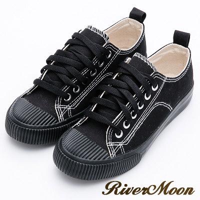 River&Moon餅乾鞋-東大門帆布縫線綁帶休閒鞋-黑