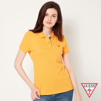 GUESS-女裝-刺繡問號LOGO短袖POLO衫-黃