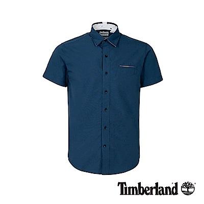 Timberland 男款深牛仔藍修身短袖襯衫|A1WWZ