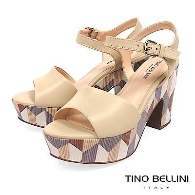 Tino Bellini 巴西進口幾何形象色塊藝術高跟涼鞋 _ 膚
