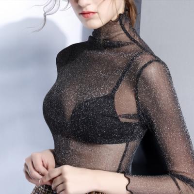 專注內搭-修身上衣滾邊銀絲高領網紗內搭衫(二色S-3XL可選)