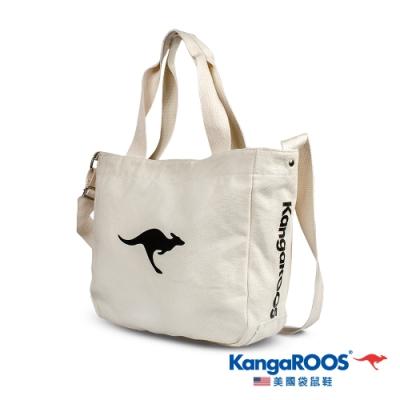 KangaROOS 美國袋鼠鞋 潮流斜肩經典托特帆布包(奶茶色-KM03111)