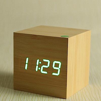 iSFun LED方塊木 觸控聲控溫度日期鬧鐘 木頭綠光