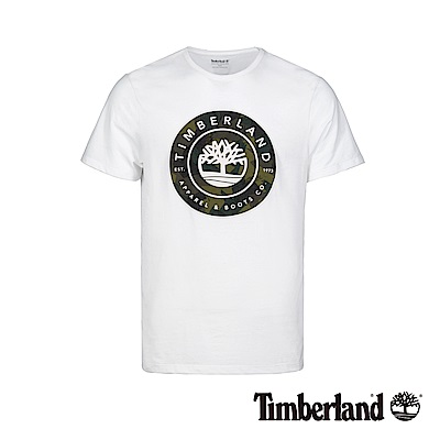 Timberland 男款白色大樹LOGO潮流短袖T恤 A1W5C