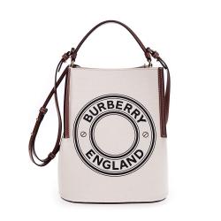 BURBERRY 新款小型標誌圖案棉質帆布Peggy 手提/肩背水
