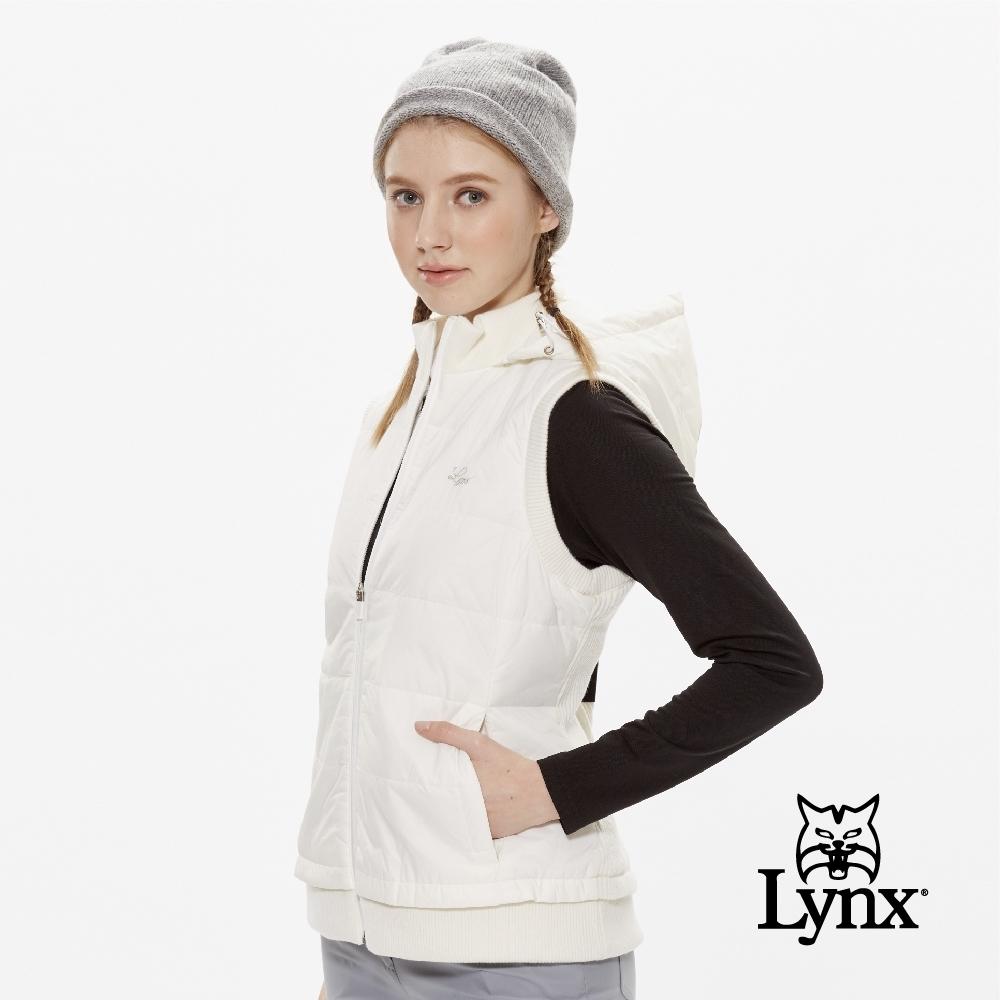 【Lynx Golf】女款防風美麗諾羊毛剪接無袖背心-牙白色