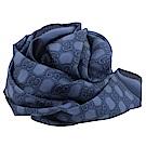GUCCI 染織LOGO絲綢大方巾/披肩(藍)