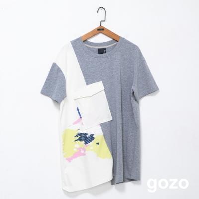 gozo 水彩塗鴉印花造型口袋拚色上衣(二色)