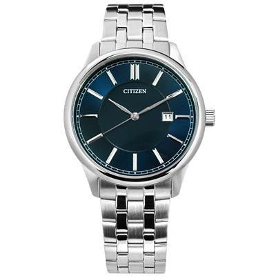 CITIZEN 礦石強化玻璃日期手錶(BI1050-56L)-深藍色/40mm