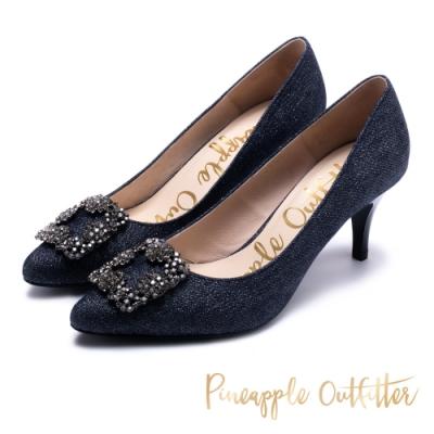 Pineapple Outfitter璀璨名媛方鑽飾釦尖頭高跟鞋-深藍色