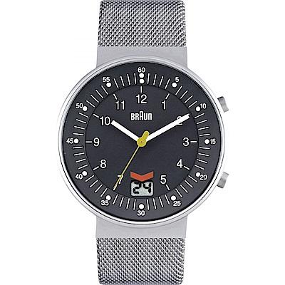 BRAUN德國百靈 日期窗網織不鏽鋼錶 -灰色/42mm