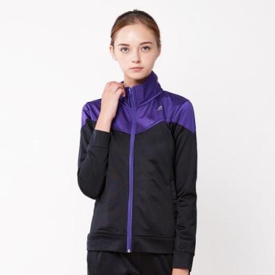 【FIVE UP】繽紛亮彩立領刷毛外套-黑紫