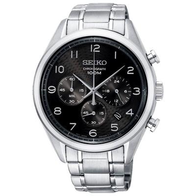 SEIKO 精工簡約三眼計時手錶SSB295P1-黑X銀/42mm