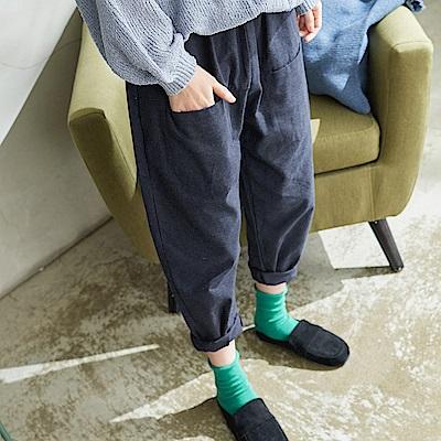 慢 生活 綁帶口袋厚棉蘿蔔褲-深灰藍