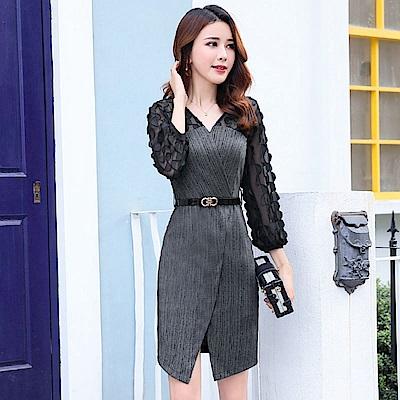 條紋拼接V領不規則開衩洋裝連身裙M-2XL(共三色)-SZ