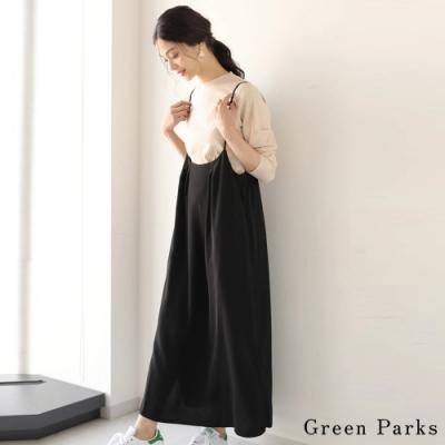 Green Parks 【SET ITEM】羅紋圓領上衣+長版吊帶連身裙