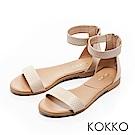 KOKKO-極簡主義繞踝平底一字涼鞋-單純白