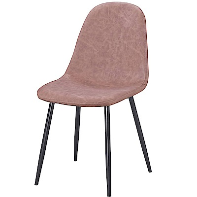 【AT HOME】現代輕工業風鐵藝棕皮餐椅/休閒椅(42*55*86cm)艾蜜拉
