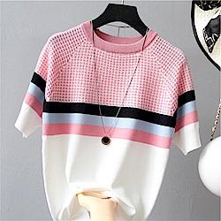 初色  格紋撞色針織短袖上衣-共3色-(F可選)