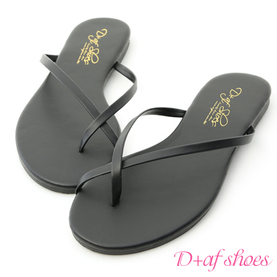 D+AF 涼夏日常.細帶交叉平底夾腳涼鞋*黑