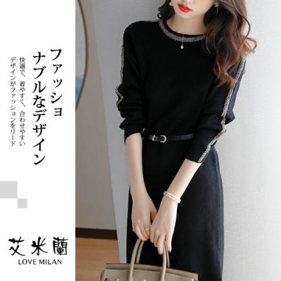 艾米蘭-韓系圓領點綴裝飾造型洋裝-黑(M-XL)
