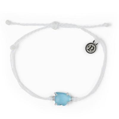 Pura Vida 美國手工 SEA GLASS 藍色海玻璃 白色蠟線衝浪手鍊手環