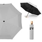 幸福揚邑 降溫抗UV防風防撥水大傘面全自動開收木柄晴雨摺疊傘(灰)