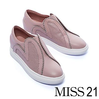 休閒鞋 MISS 21 浪漫愛心剪裁拼接設計全真皮厚底休閒鞋-粉