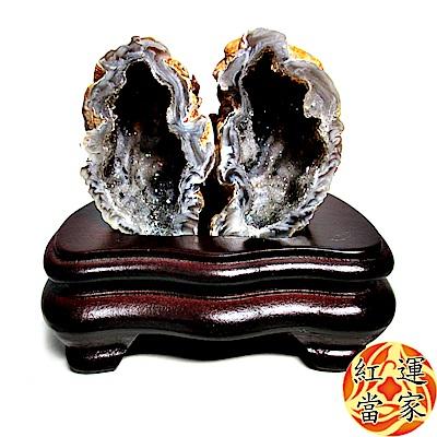 紅運當家 天然水晶瑪瑙聚寶盆(一對)+木座(含座112公克)
