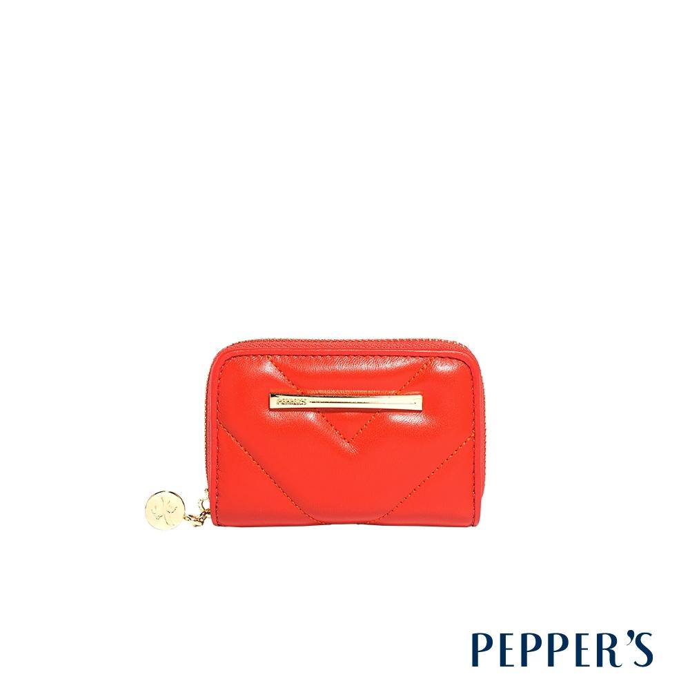 PEPPER'S Viva 羊皮拉鍊多卡片零錢包 - 珊瑚橘