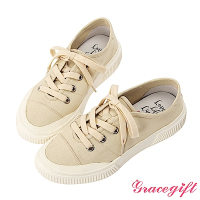 Grace gift X Kerina -聯名帆布2WAY綁帶休閒鞋 米白