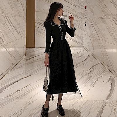 DABI 韓系復古氣質顯瘦赫本娃娃領長袖洋裝