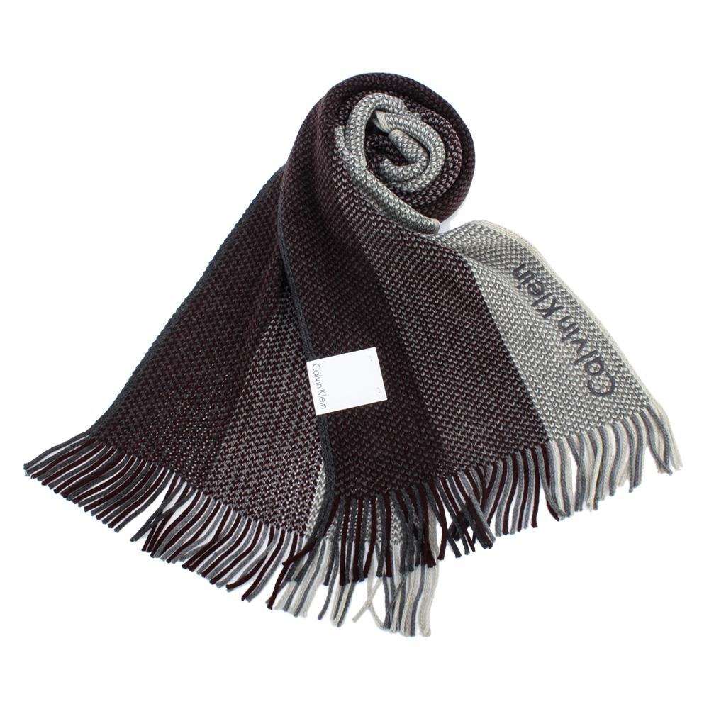 Calvin Klein CK 雙色混織刺繡LOGO條紋針織圍巾-深紅灰 @ Y!購物