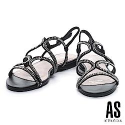 涼鞋 AS 奢華時尚細帶鑲鑽羊麂皮低跟涼鞋-黑