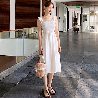 La Belleza素色荷葉壓折鬆緊胸圍肩寬肩帶背心洋裝