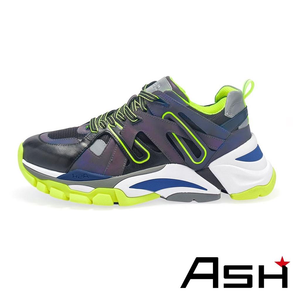 ASH-FLASH時尚拼接撞色厚底增高老爹鞋-黑黃