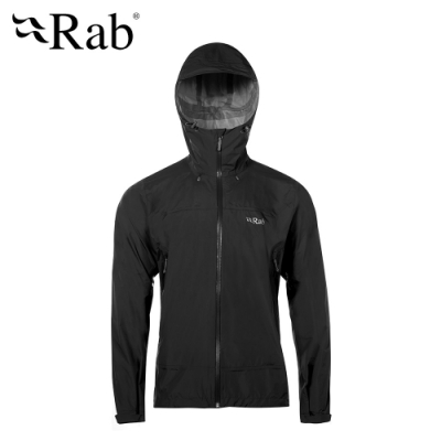 【RAB】Downpour Plus 高透氣防水外套 男款 黑色 #QWF67