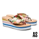 拖鞋 AS 熱帶風情花布造型楔型夾腳高跟拖鞋-粉 product thumbnail 1