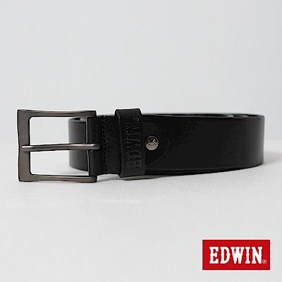 EDWIN 加長款立釦烙印皮帶-黑色