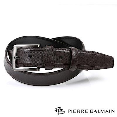【PB皮爾帕門】經典方框微菱格紋二層牛皮休閒針扣皮帶(885)