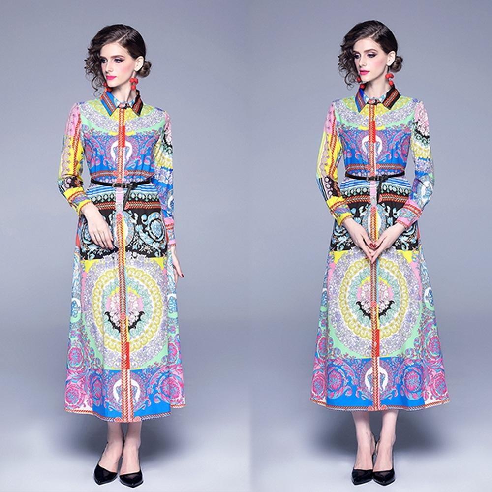 【KEITH-WILL】都會風采印花修身洋裝-1色