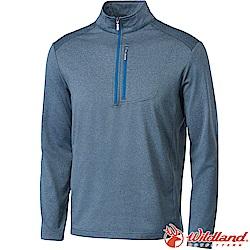 Wildland 荒野 0A62606-51藍灰 男彈性針織輕薄保暖上衣