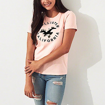 HCO Hollister 海鷗 經典刺繡大海鷗文字設計短袖T恤(女)-粉色